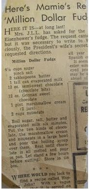 Mamie Eisenhower Fudge newspaper clipping